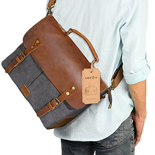 Lifewit Leather Vintage Canvas Laptop Bag, 13'(L)x10.5'(H) x 4.1'(W), Grey