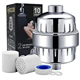 10-Stage Shower Water Filter with 2 Cartridges - For Any Shower Head and Handheld Shower - Removing Chlorine, Heavy Metals and Sulfur Odor from Water