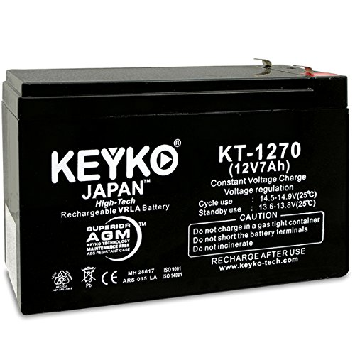 0 12V 7Ah Battery - Fresh & REAL 7.2 Amp AGM/SLA Sealed Lead Acid Rechargeable Replacement Genuine KEYKO KT-1270 - F1 -F2 Adapter ()