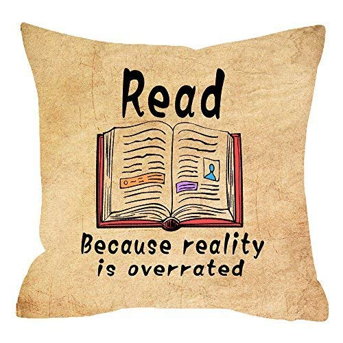 (Delia32Agnes Modern Retro Backdrop Reading Lover with Quote Read Books Because Reality is Overrated Linen Throw Pillow Covers Decorative with Zip 18 X 18 for)
