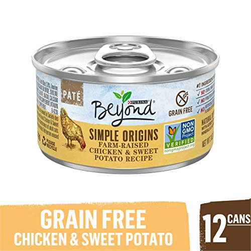 Purina Beyond Grain Free, Natural Pate Wet Cat Food, Simple Origins Chicken & Sweet Potato Recipe – (12) 3 oz. Cans