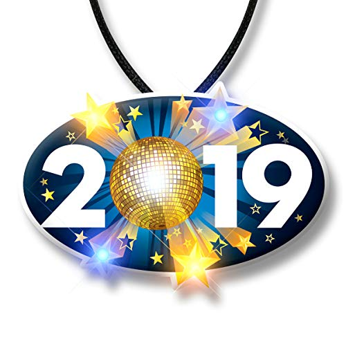 Light Up 2019 LED Pendant Necklace for New Year's Eve (Set of 5) ()