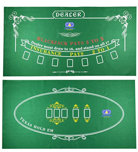 Best Price! Tabletop Casino Felt Layout for Texas Holdem Poker and Blackjack - Premium Professional ...