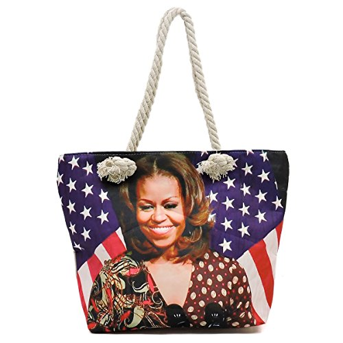 Michelle Obama printed light weight large canvas tote bag (picture #4)