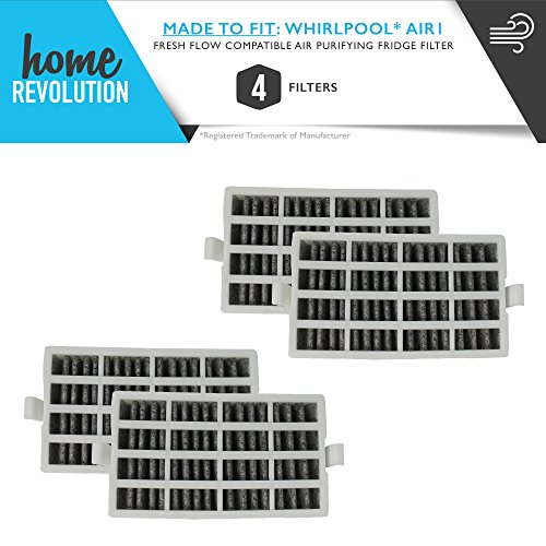 Whirlpool Part #W10311524, 2319308, W10335147 for Fresh Flow Style, Kitchen Aid, Maytag, Amana and Jenn Air, Comparable Refrigerator Filter. A Home Revolution Brand Quality Aftermarket Replacement 4PK by Home Revolution