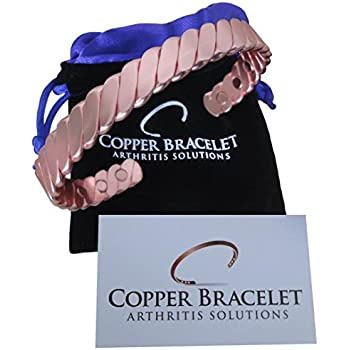 Copper Bracelet Twisted for Arthritis - Guaranteed 99.9% Pure Copper Magnetic Bracelet for Men Women - 6 Powerful Magnets - Effective + Natural Relief of Joint Pain, Arthritis, RSI, + Carpal Tunnel.