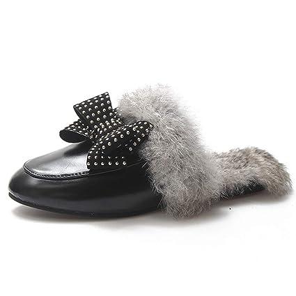 FAY WATERS - Zapatillas de Piel mullida para Mujer, con Lazo Grande, cálidas,