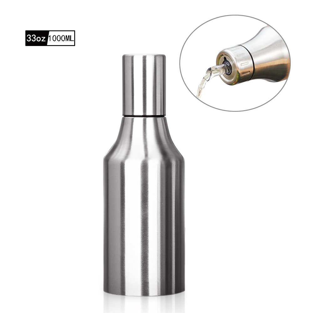 HQGOODS Oil Dispenser,Stainless Steel Olive Oil/Vinegar/Sauce Cruet Oil Bottle Edible Oil Container Pot - Non drip Pouring Spout(33 oz/1000ML)
