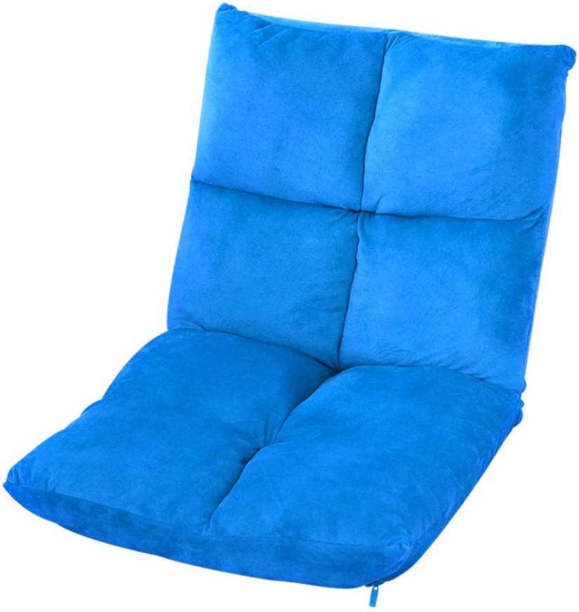 Adjustable Floor Plush Lazy Sofa,Padded Breathable Floor Chair,Game Sofa Chair Recliner Couch Lounger with Cushioned Back Support-Blue