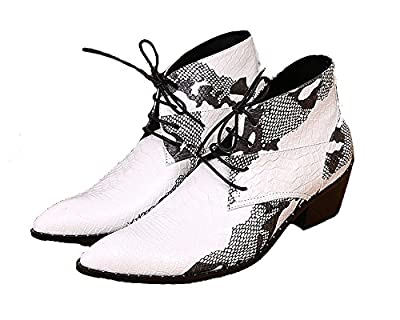 Cover Plus Size 5-12 White Animal Print Genuine Leather Lace up Ankle Boots Mens Pointed Toe Dress Shoes