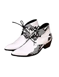 US Size 5-12 Fashion White Lace Up Leather Mens Dress Ankle Boots Shoes