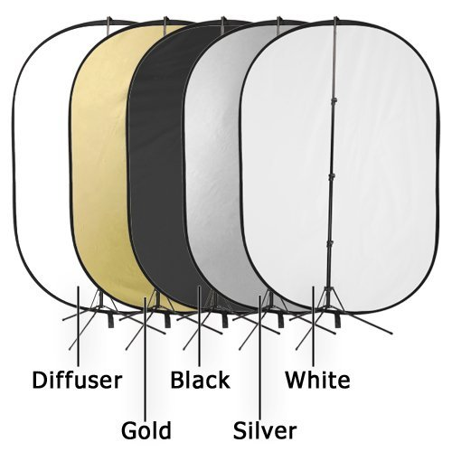 """Fotodiox Pro 40""""x60"""" 5-in-1 Collapsible Reflector Kit with stand"""