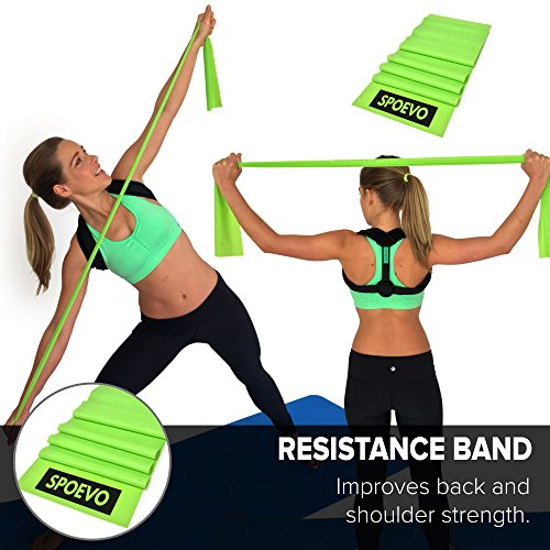 SPOEVO Back Posture Corrector for Women & Men - Bundle Includes Massage Ball & Resistance Band with Back Straightener Posture Brace for Natural Spine Alignment by SPOEVO (Image #1)