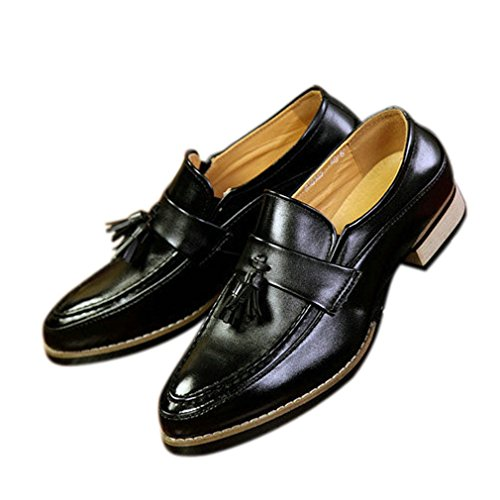 del Negro Mocasines Hombres Dedo Tassel Zapatos Puntiagudo Xianshu pie FqIwa78n1