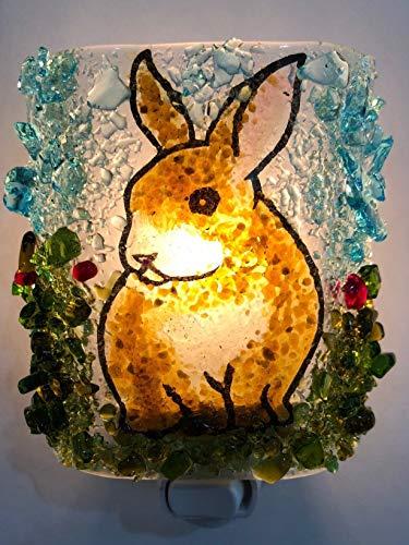 Bunny Rabbit Woodland Creatures Handmade Recycled Glass Night Light Nightlight, Nitelite, Nite - Light Night Bunnys