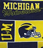College University of Michigan Wolverines Print Fleece Fabric By the Yard