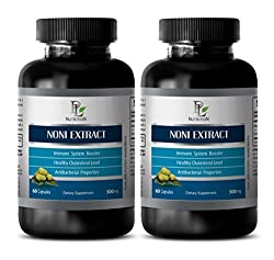 Blood Flow Supplements - Noni Extract 500 Mg - Morinda Root - 2 Bottles 120 Capsules