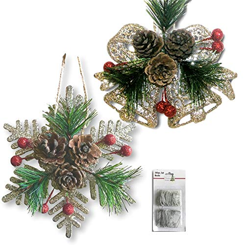 BANBERRY DESIGNS Pinecone Ornaments  Set of 8 Glittered Snowflakes and Bells with Pine Cones Greenery and Red Berries  Christmas Farmhouse Decor