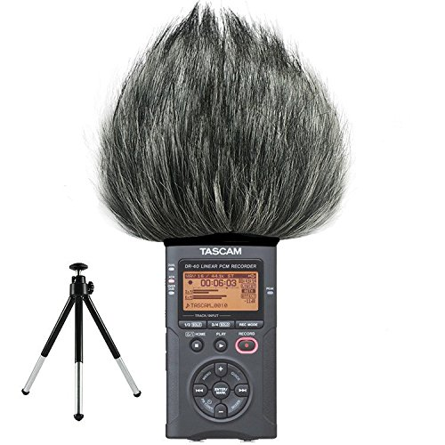 First2savvv TM-DR-40-B01G6 Outdoor Portable Digital Recorders Furry Microphone Mic Windscreen Wind Muff for Tascam DR-40. DR40 + mini stand