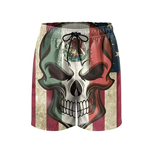 Go ahead! boy Mexican American Flag Men's Summer Beach Quick-Dry Surf Swim Trunks Boardshorts Cargo Pants