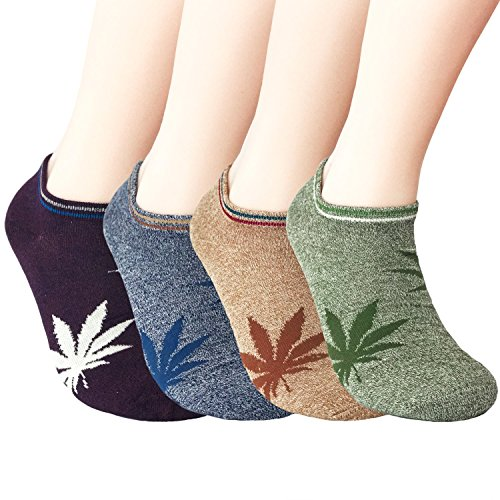 JOYCA & Co. 4 Pairs Unisex All Season Soft Cotton Low Cut No Show Socks ,Marijuana Leaf (Women's/ Men's Shoe Size 6m-10m)