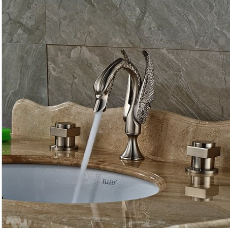 GOWE Nickel Brushed Bathroom Swan Faucet Dual Handles Vanity Sink Mixer Tap 3 pcs 2