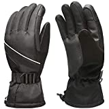 MPHABON Ski Gloves Mens Winter Gloves Waterproof Windproof Outdoor Snowboard Warm Gloves Womens Gloves (Black)