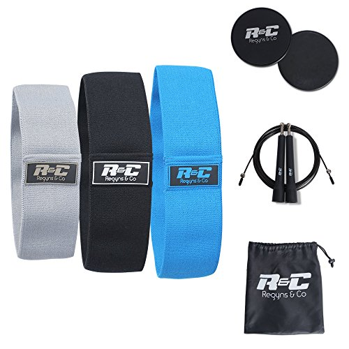 Cheap Regyns & Co Hip Resistance Bands for Men and Women – Exercise, Squat Band, Workout, Legs and Butt – Hip Circle Booty Bands for Thighs, Glutes – Set of 3 – with Core Sliders, Bag & BONUS Jump Rope