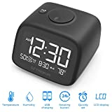 SZTROKIA Alarm Clock, Multifunctional Digital Alarm Clock, Indoor Thermometer, Hygrometer, Dual USB Charger, Suitable for Phone, Pad, Black