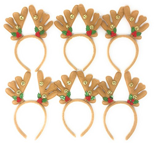 Bulk 6 Pack of Christmas Reindeer Antler Head Bopper Party Hats - Sized for Adults and Kids
