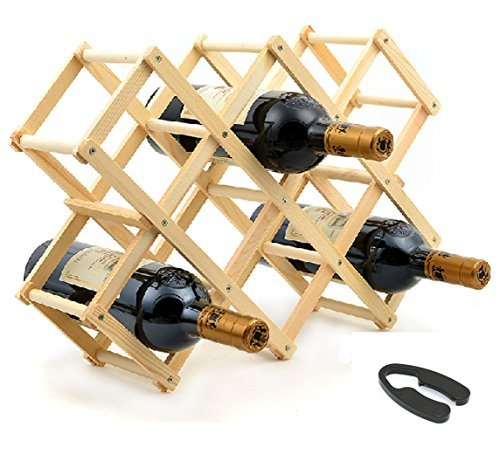 Elife Wood 10-Bottle Wine Rack with One Foil Cutter Remover