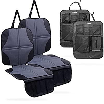 Ohuhu Baby Child Car Seat Protectors and Kick Mat Car Back Seat Cover - 4 Sets Auto Seat Cover for Carseats and Kids Kick Mats with Backseat Organizer Pockets Storage