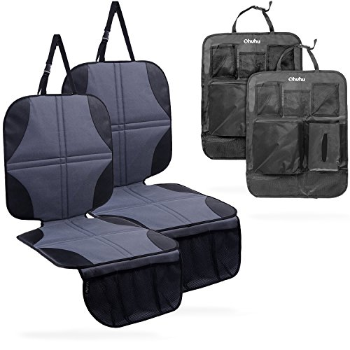 Ohuhu 4 Packs Baby Child Car Seat Protectors and Kick Mat Car Back Seat Cover - 2 Sets Auto Seat Cover for Carseats and Kids Kick Mats with Backseat ()