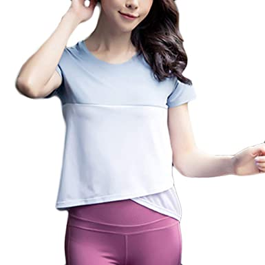 Amazon.com: TANLANG Women Mini Tops Stitching Fitness ...