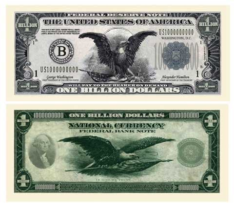 (5) Classic Billion Dollar Bill