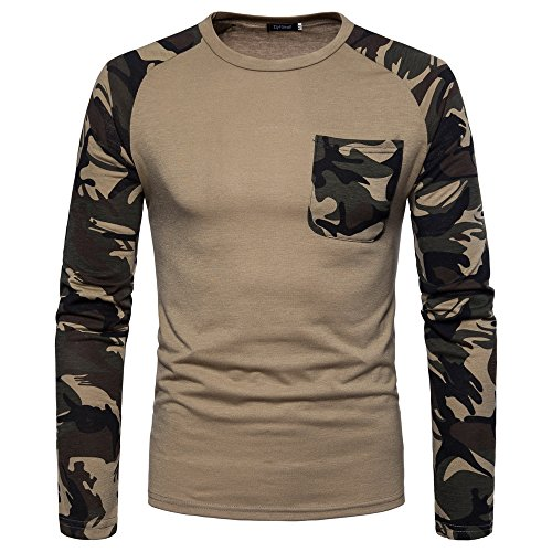 (iZHH Mens Pullover Long T-Shirt Casual Camouflage Print O Neck Top Blouse(Khaki,XL))