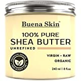 PURE Shea Butter - Raw African Organic Grade A Ivory Unrefined, Cold-Pressed - Great To Use Alone or DIY Body Butters, Lotions, Soaps, Eczema & Stretch Mark Products, From Ghana - By Buena Skin 8 oz