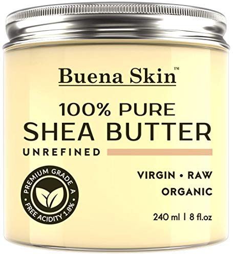 PURE Shea Butter - Raw African Organic Grade A Ivory Unrefined, Cold-Pressed - Great To Use Alone or DIY Body Butters, Lotions, Soaps, Eczema & Stretch Mark Products, From Ghana - By Buena Skin 8 oz -
