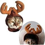 Rurah Pet Cat Dog Cap Hat Halloween Pet Cute Reindeer Costume Hat for Cat and Small Dog
