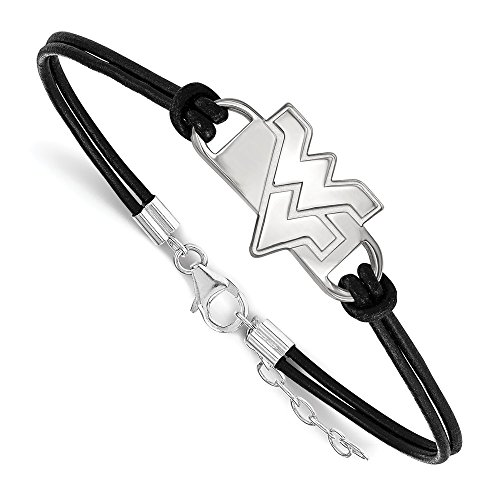 Sterling Silver LogoArt Official Licensed Collegiate 7in West Virginia University (WVU) Small Center Leather Bracelet by LogoArt