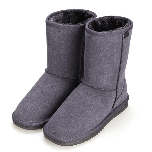 PEATAO Winter Calf Shoes Grey Boots Ankle Mid Faux Warm Fleece Women Lined Snow Fur zrEwr
