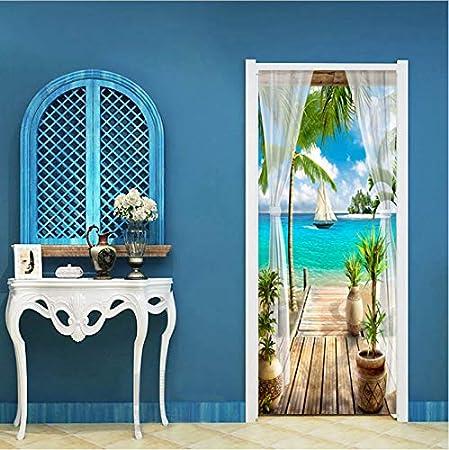 Zller2587 Etiqueta De La Puerta Creativo DIY 3D Puerta De La Pared 3D Paisaje del Mar