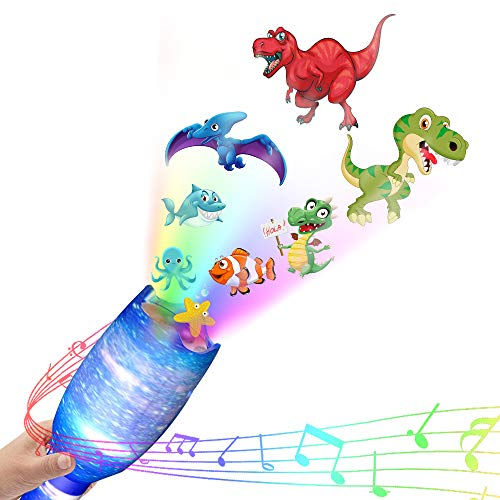 weird tails Dinosaur Lights Projector Toy Kids LED Projector Flashlight with Music Dinosaur Starry Ocean Light Show and Educational Toy for Kids (Sky ()