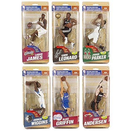 McFarlane NBA Series 26 Complete Set (6) Action Figures LeBron James, Chris Anderson, Andrew Wiggins, Kawhi Leonard, Jabari Parker and Blake Griffin by McFarlane Toys