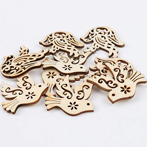 Birds Medallions (Hole - 20pcs Mixed Natural Wooden Bird Shape Pattern Carft Nautical Diy Home Handmade Decoration Hole 31x33mm Mt1566 - Laurel Wreath Awkward Ribbon Ornament Medallion Medal)