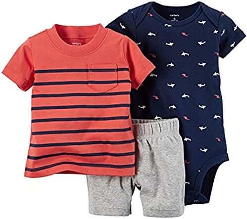 Carter's_1 Boy Diaper Cover Set Red Navy Stripe, 6 Months