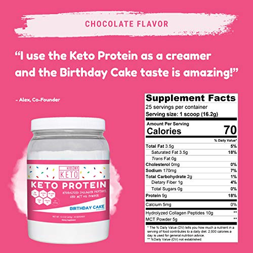 Kiss My Keto Protein Powder – Birthday Cake Keto Collagen Supplement, Grassfed Collagen Peptides MCT Oil Powder, Low Carb Keto Shake or Keto Coffee Creamer for Ketogenic Diets, 25 Servings