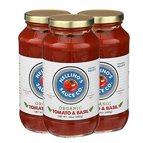 Bbq Sauce Tomato Paste - Nellino's Organic Pasta Sauces - Low Acidic, Keto, No Sugar Added, Certified Gluten Free, Certified Vegan, True Premium Flavor (24 oz) (Tomato Basil, 3 Pack)