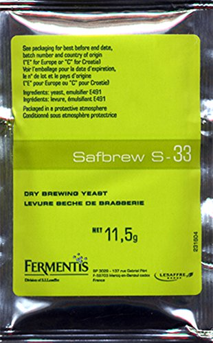 Safbrew S-33 Ale Yeast, 11.5g - 10-Pack