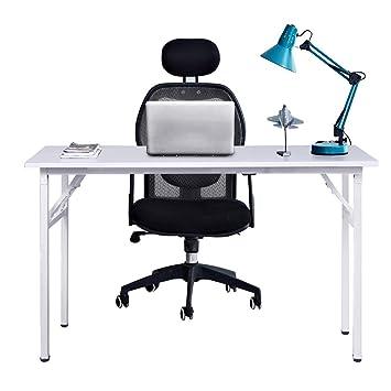 Need Mesa Plegable 120x60cm Mesa de Ordenador Escritorio de Oficina Mesa de Estudio Puesto de trabajo Mesas de Recepción Mesa de Formación, Blanco